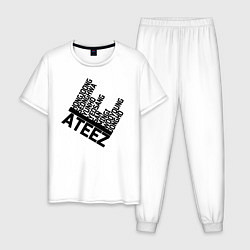 Пижама хлопковая мужская Ateez цвета белый — фото 1