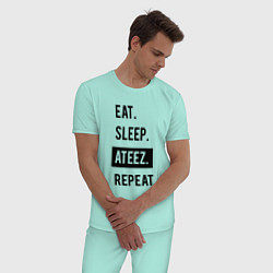 Пижама хлопковая мужская ЕСТЬ СПАТЬ ATEEZ ПОВТОРИТЬ цвета мятный — фото 2