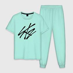 Пижама хлопковая мужская Stray Kids цвета мятный — фото 1