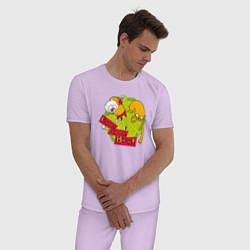 Пижама хлопковая мужская Come at me Bro цвета лаванда — фото 2