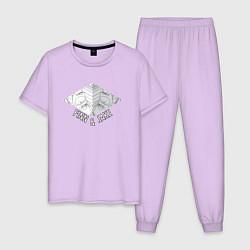 Пижама хлопковая мужская Finn & Jake цвета лаванда — фото 1