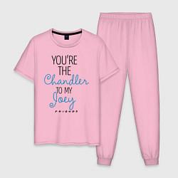 Пижама хлопковая мужская Youre the Chandler to my Joey цвета светло-розовый — фото 1