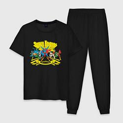 Пижама хлопковая мужская Super Friends, Justice League цвета черный — фото 1