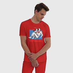 Пижама хлопковая мужская Superman & Supergirl цвета красный — фото 2