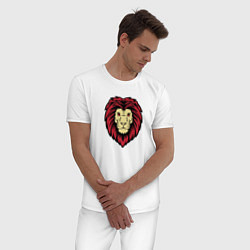 Пижама хлопковая мужская Лев цвета белый — фото 2