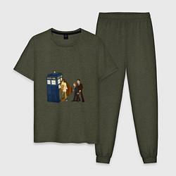 Пижама хлопковая мужская Доктор Кто - The X-Files цвета меланж-хаки — фото 1