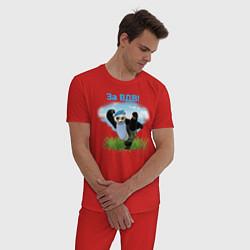Пижама хлопковая мужская Панда ВДВ цвета красный — фото 2