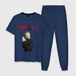 Пижама хлопковая мужская ЕГОР КРИД - FAMILY цвета тёмно-синий — фото 1