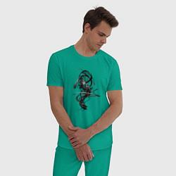 Пижама хлопковая мужская Темная Энергия цвета зеленый — фото 2