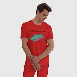 Пижама хлопковая мужская Лежу навстречу мечте цвета красный — фото 2