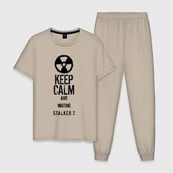 Пижама хлопковая мужская STALKER 2 KEEP CALM цвета миндальный — фото 1