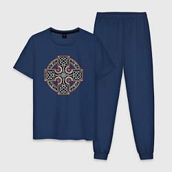 Пижама хлопковая мужская Кельтский крест цвета тёмно-синий — фото 1