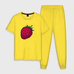 Пижама хлопковая мужская Клубника цвета желтый — фото 1