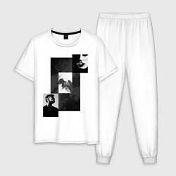 Пижама хлопковая мужская Чёрно-белые фото цвета белый — фото 1