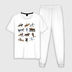 Пижама хлопковая мужская Конный виды спорта цвета белый — фото 1