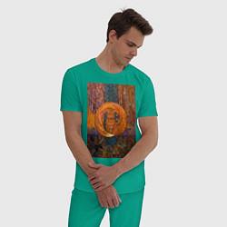 Пижама хлопковая мужская Лис цвета зеленый — фото 2