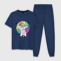 Пижама хлопковая мужская Dab Unicorn цвета тёмно-синий — фото 1