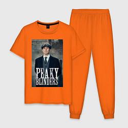 Пижама хлопковая мужская Острые козырьки цвета оранжевый — фото 1