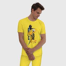Пижама хлопковая мужская Born Freedom цвета желтый — фото 2