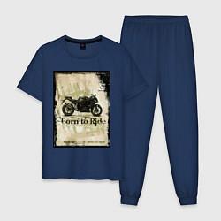 Пижама хлопковая мужская Born to Ride цвета тёмно-синий — фото 1