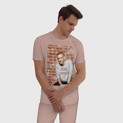 Пижама хлопковая мужская Егор Крид цвета пыльно-розовый — фото 2