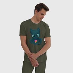 Пижама хлопковая мужская Дракончик Likee цвета меланж-хаки — фото 2