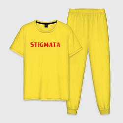 Пижама хлопковая мужская Stigmata цвета желтый — фото 1