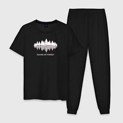 Пижама хлопковая мужская Лес цвета черный — фото 1