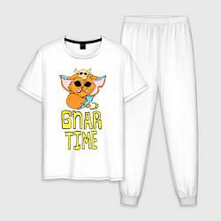 Пижама хлопковая мужская Гнар цвета белый — фото 1