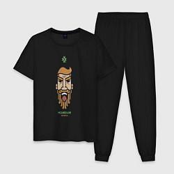 Пижама хлопковая мужская Макгрегор цвета черный — фото 1