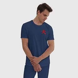Пижама хлопковая мужская HOKAGE MINATO НА СПИНЕ цвета тёмно-синий — фото 2