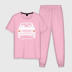 Пижама хлопковая мужская Жигули Ваз 2107 цвета светло-розовый — фото 1