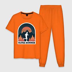 Пижама хлопковая мужская Бег цвета оранжевый — фото 1