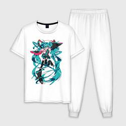 Пижама хлопковая мужская Hatsune Miku Expo цвета белый — фото 1