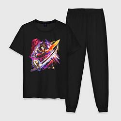 Пижама хлопковая мужская Йо Асакура цвета черный — фото 1