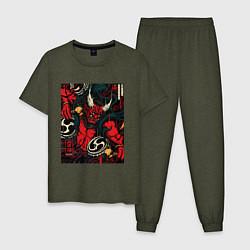 Пижама хлопковая мужская God of thunder цвета меланж-хаки — фото 1