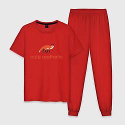 Пижама хлопковая мужская Эстетика милоты цвета красный — фото 1