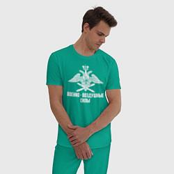 Пижама хлопковая мужская Военно - воздушные силы цвета зеленый — фото 2