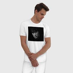 Пижама хлопковая мужская Перемен текст на лице цвета белый — фото 2