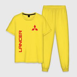 Пижама хлопковая мужская LANCER цвета желтый — фото 1