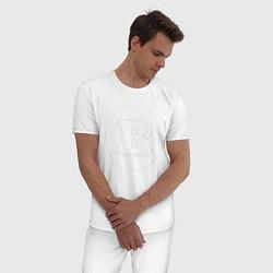 Пижама хлопковая мужская Brabus цвета белый — фото 2