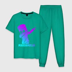 Пижама хлопковая мужская MARSHMELLO цвета зеленый — фото 1