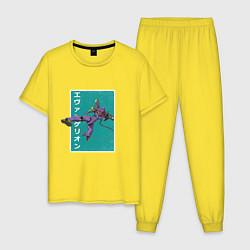Пижама хлопковая мужская Евангелион цвета желтый — фото 1