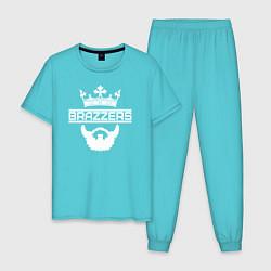 Пижама хлопковая мужская Brazzers цвета бирюзовый — фото 1