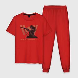 Пижама хлопковая мужская Westworld цвета красный — фото 1