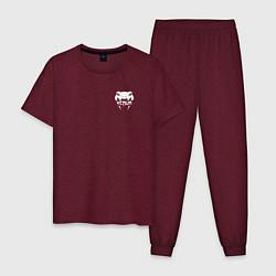 Пижама хлопковая мужская VENUM цвета меланж-бордовый — фото 1