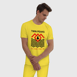 Пижама хлопковая мужская Twin Peaks цвета желтый — фото 2