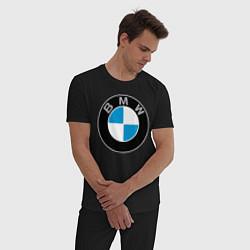 Пижама хлопковая мужская BMW цвета черный — фото 2