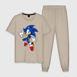 Пижама хлопковая мужская Sonic цвета миндальный — фото 1