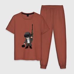 Пижама хлопковая мужская PUBG цвета кирпичный — фото 1